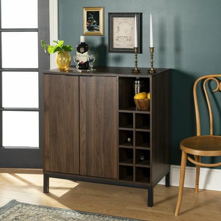 Modern Dark Walnut Bar Cabinet with Wine Storage by Manor Park Bars Leather Cabinet