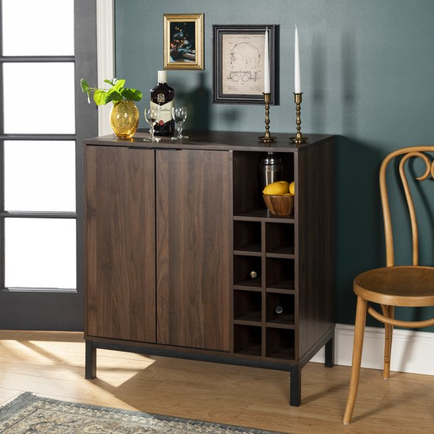 Manor Park Modern Bar Cabinet With Wine Storage Dark Walnut Walmart Com Walmart Com