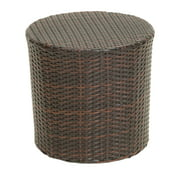Outdoor Wicker Barrel Side Accent Table, Brown