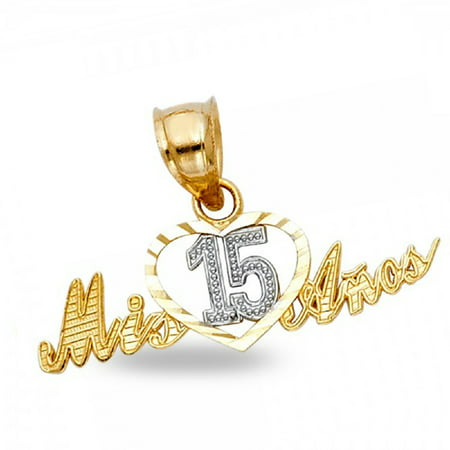 Solid 14k Yellow White Gold Mis 15 Anos Heart Pendant Quinceanera Love Birthday Charm 11 x 25 mm