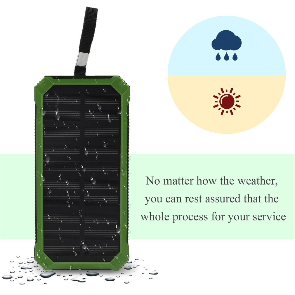 300000mAh Dual USB Portable Solar Battery Charger Solar Power bank-Green