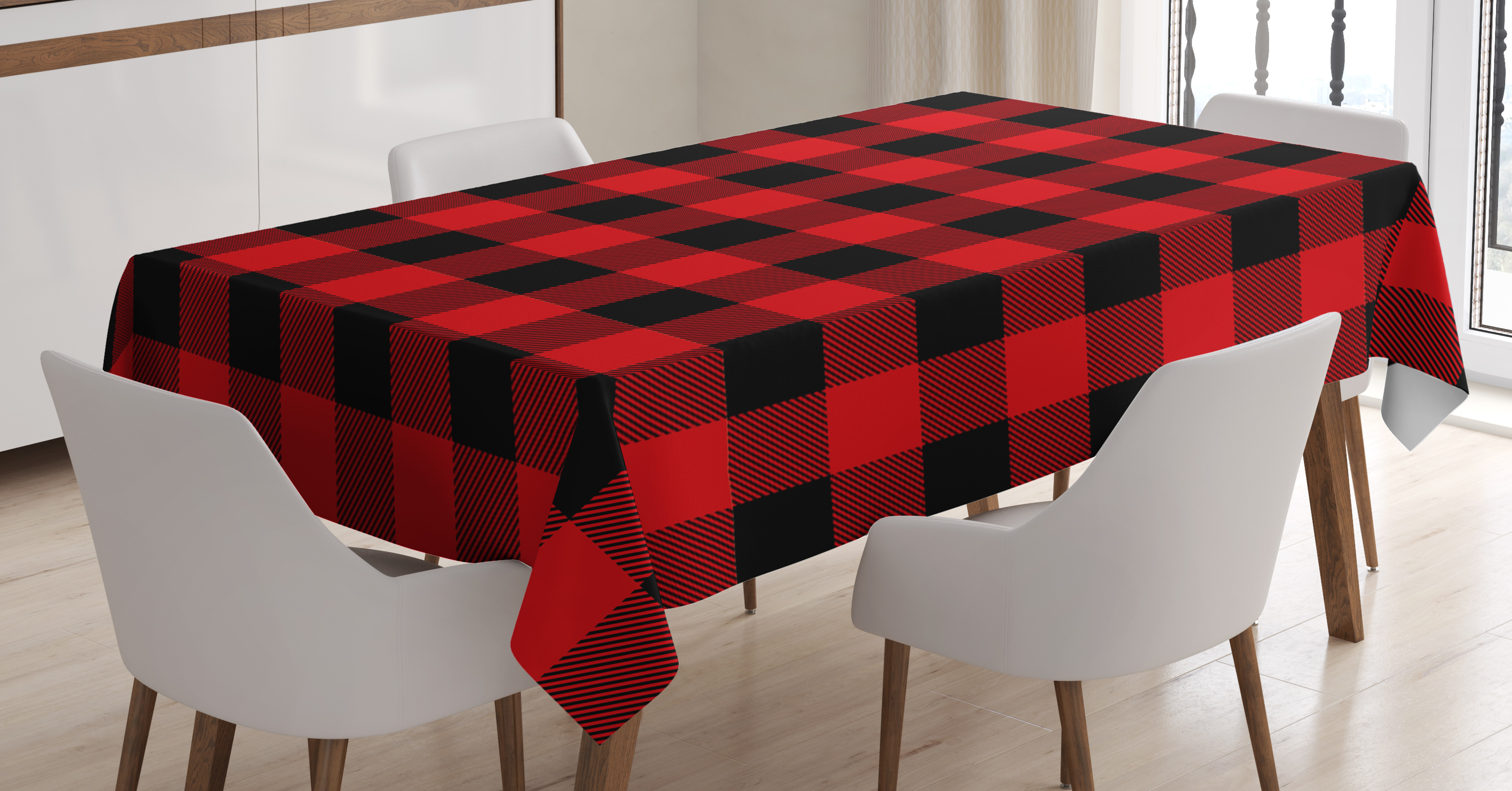 Remarkable Red Plaid Tablecloth Lumberjack Clothing Inspired Square Pattern Checkered Grid Style Quilt Design Rectangular Table Cover For Dining Room Kitchen Spiritservingveterans Wood Chair Design Ideas Spiritservingveteransorg
