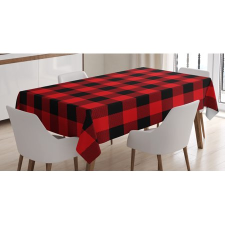 Red Plaid Tablecloth (Red Plaid Tablecloth, Lumberjack Clothing Inspired Square Pattern Checkered Grid Style Quilt Design, Rectangular Table Cover for Dining Room Kitchen, 52 X 70 Inches, Scarlet Black, by)