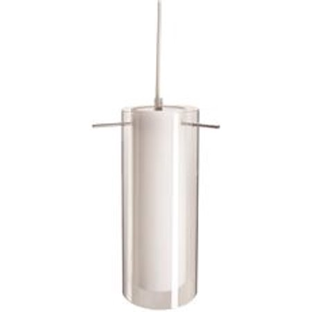 Brushed Nickel Clear Glass - Monument Pendant Fixture With White And Clear Glass, Brushed Nickel, 11-1/2 X 4-3/4 In., 1 13-Watt Gu24 Lamp Included