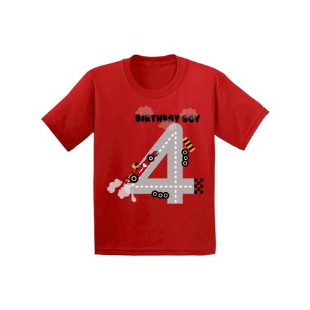 Awkward Styles Birthday Boy Race Car Toddler Shirt Race Car Birthday Party for Toddler Boys Funny Birthday Gifts for 4 Year Old 4th Birthday T Shirt Fourth Birthday Outfit Race Tshirt for Birthday
