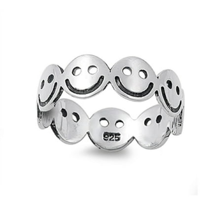 Face Ring - 925 Sterling Silver Smiley Face Eternal Happiness Ring Size 5