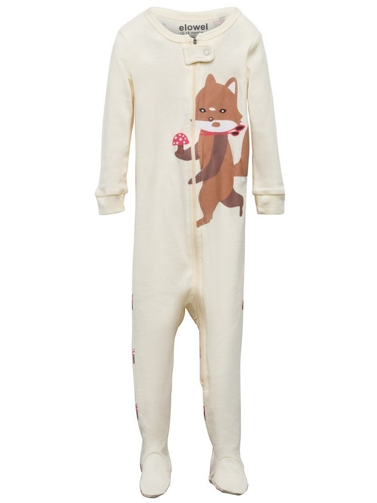 Elowel Baby Girls Brown Fox Printed Zipper Footed Pajama Sleeper