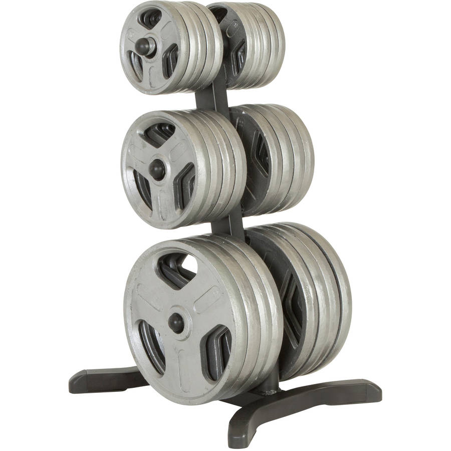 FITNESS REALITY X-Class Olympic Weight Tree/Plate Rack, Bar Holders, Chrome Storage Posts, 1000 lb Capacity
