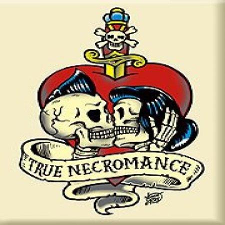Artist Vince Ray True Necromance Kissing Rockabilly Skulls Fridge Magnet