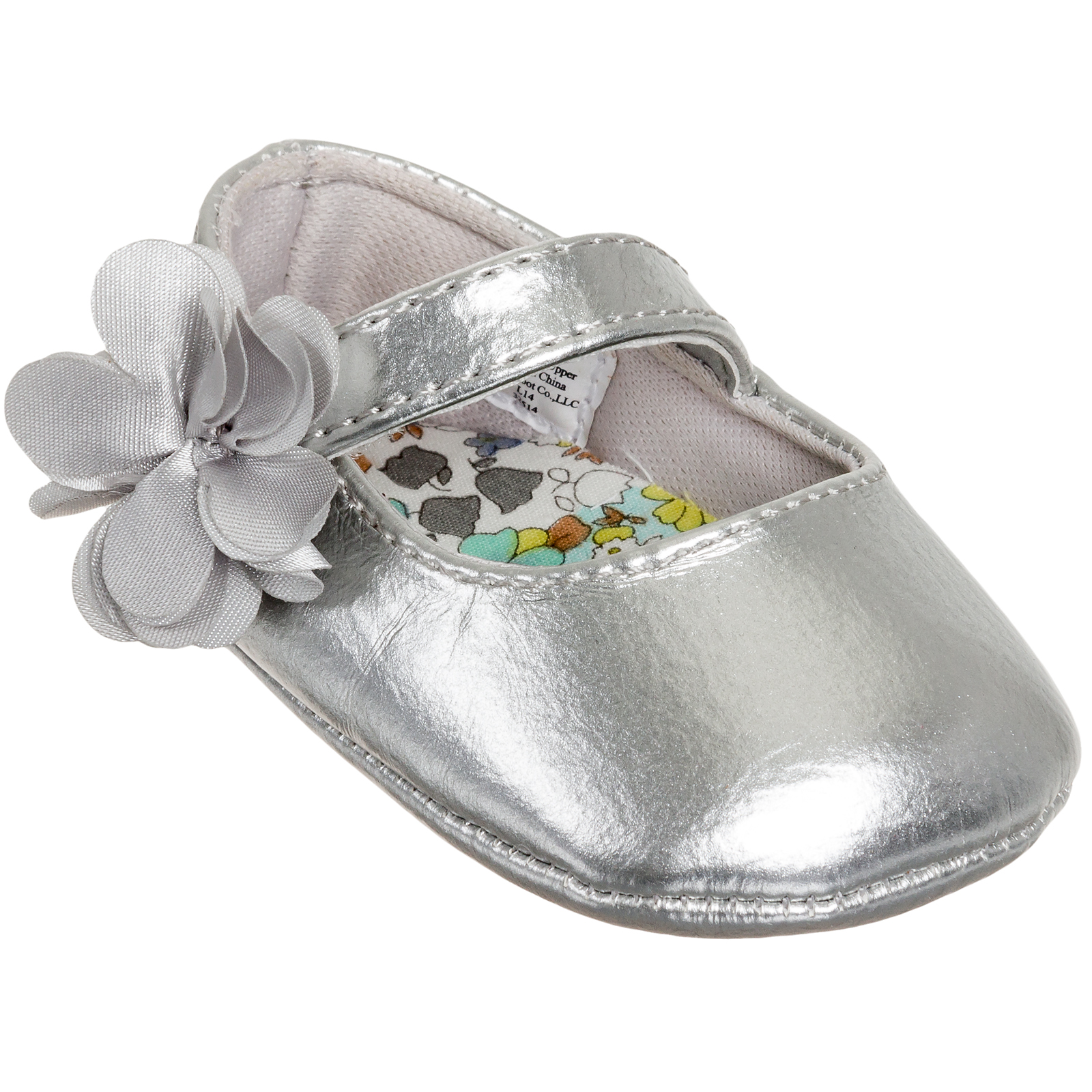 Baby Deer Girls Patent Skimmer Soft-Sole Ballet Flat Shoes (Silver, 2 US Infant)