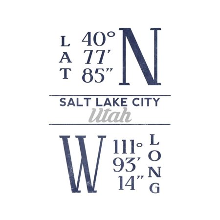 Salt Lake City, Utah - Latitude and Longitude (Blue) Print Wall Art By Lantern - Costume Store Salt Lake City