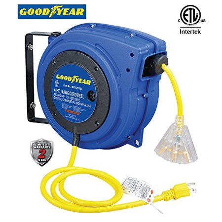Goodyear Extension Cord Reel, 40 ft., 14AWG/3C SJTOW, Triple Tap with LED Lighted Connector, Heavy Duty (Extension Cord Reel 25)