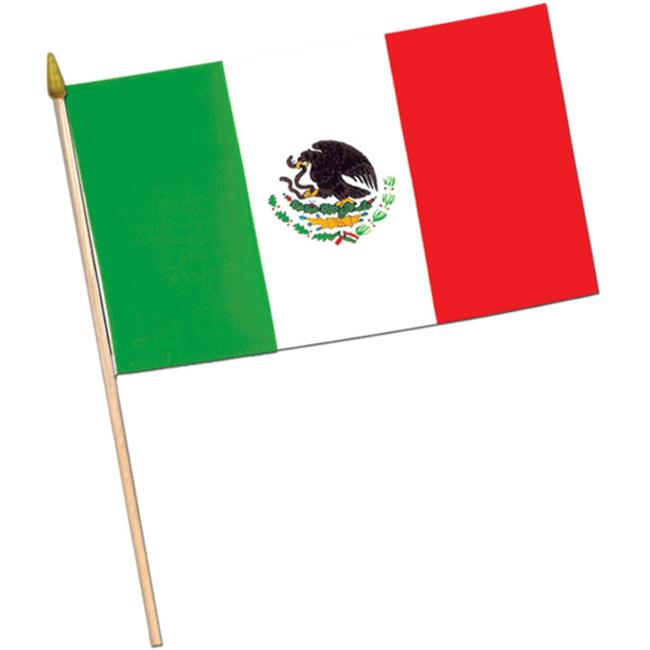 Bulk Buys Mexican Flag Fabric with 22 Spear-Tipped Wooden Stick Case Of 36 by Bulk Buys
