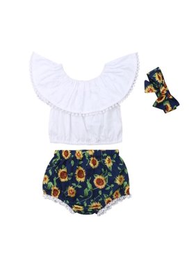 d7218ad11901 Product Image Toddler Baby Girls Ruffled Off Shoulder Crop Tops+Sunflower  Short Pants Diaper Covers Summer Outfits