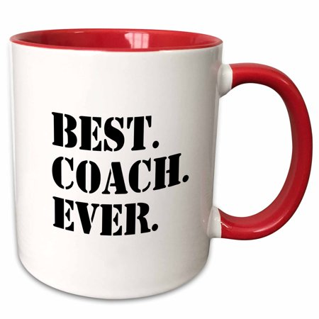3dRose Best Coach Ever - Gifts for Sports Coaches - Life Coaches - or other types of coaches - black text - Two Tone Red Mug, (The Best Catch Ever)