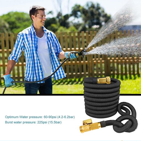 "Garden Hose with 3/4"" Solid Brass Connector, Garden Hose Reels for Car Garden Supplies Water Pipe Nozzle - Black - image 4 of 5"
