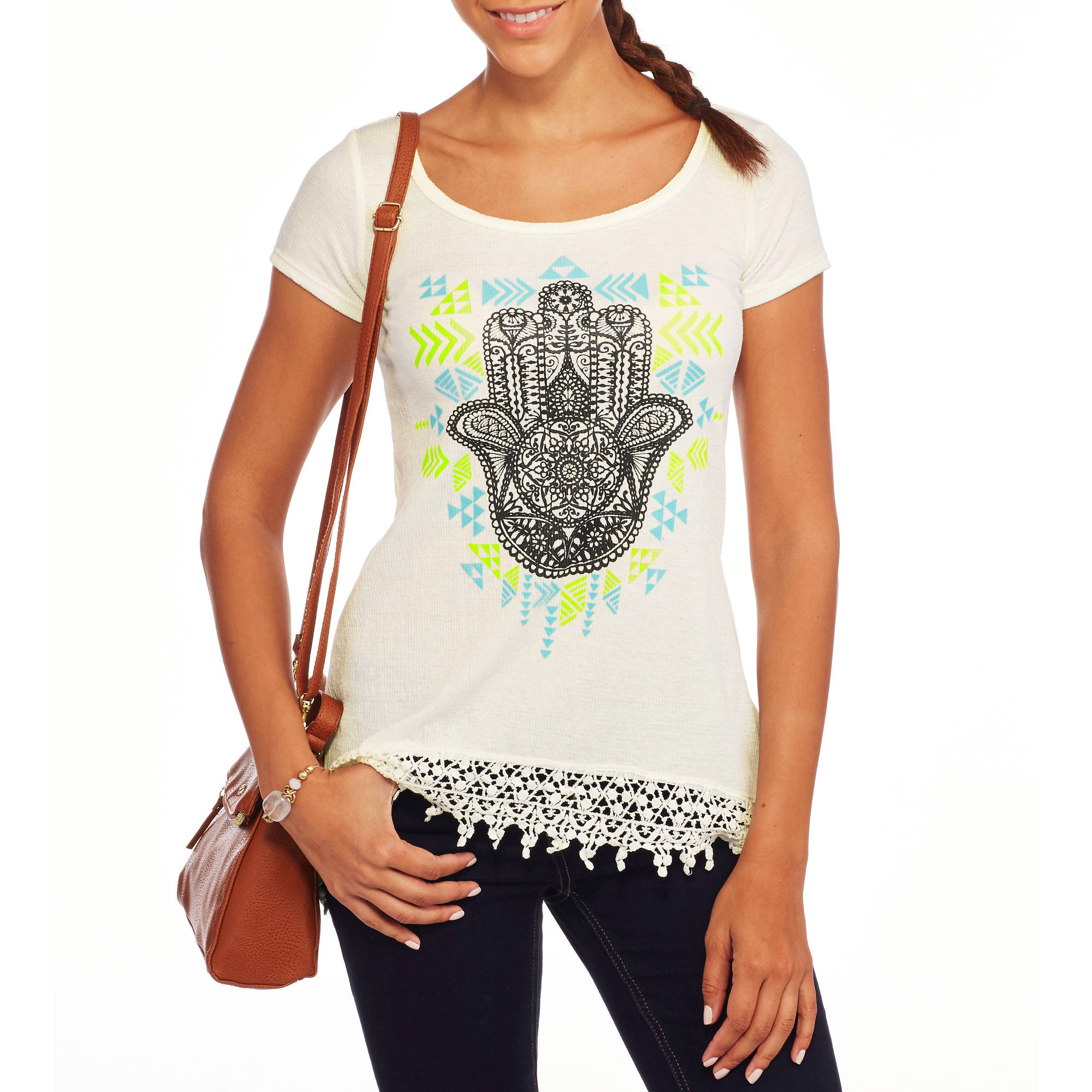 French Laundry Women's Graphic Tee With Crochet Trim