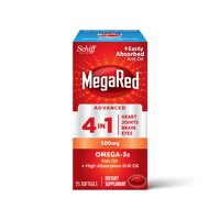 MegaRed Advanced 4 in 1 Omega-3 Fish Oil + Krill Oil Softgels, 500 mg, 25 ct