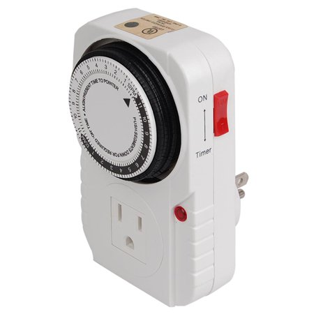 Hydro Crunch™ 15 Amp 24-Hour Heavy Duty Mechanical Dial Timer with 1-Grounded Outlet for Lighting and (Heavy Duty Light Timer)