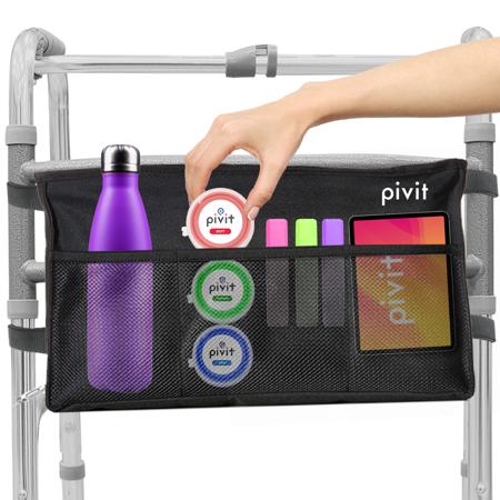 Pivit Water Resistant Walker Bag | Accessory Basket Provides Hands Free Storage for Folding Walkers | Attachment Fits Wide and Narrow Styles | Tote Caddy Pouch for Elderly, Seniors, Handicap, Disabled