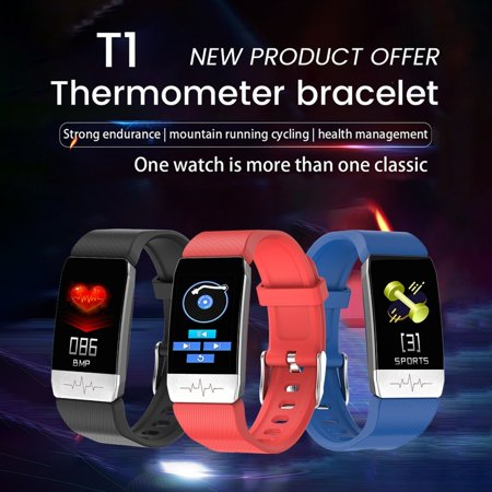 Temperature Measuring Smart Bracelet Fever Monitor Health Fitness Tracker Ecg Monitor Smartwatch For Iphone Android Please note, this item ships from an international seller. Expected delivery is 10-15 days.Software Functions:Support Time Display,Steps,Calories,Distance,Hand-up Screen,Sleep Monitor,Running Track,Call Reminder,Message Reminder,Sedentary Reminder,Alarm Reminer,Do Not Disturb Mode,Shake and Take Photo,Search Mobile,Different Dials,Hourly Measurement,WeChat Movement,Heart Rate,Body temperature,Apple Health,Weekly Health Report,Blutooth Name,Language,App Name,immunity,Blood Pressure,Blood Oxygen,ECG.Feature:High precision capacitive touch screen,light youch and easy operationBluetooth enabled, fitness trackerBody Temperature MonitoringPedometer, calories counter, distance, sleep monitorFashion and Durable,great for fitness sportsSpecifications:Display ScreenScreen Size 1.14 Inch    Definition240*210    Capacity130mA    Material BodyPC    BandTPU    Specification    CPU TypeHS6620    Heart RateWK1069    RAM64KB    ROM Flash512KB    Acceleration SensorG-Sensor 3 Axis    BluetoothFPC Antenna    Charger InterfaceUSB Charger    KeyTouch-screen Single press    System:Android Above 4.4    iOSSystem Version Above 8.4    Charger WayUSB ChargerWaterproof LevelIP67APP Support voiceandriod:English, Czech, German, Spanish, French, Italian, Japanese, Korean, Portuguese, Russian, Thai, Simplified Chinese, Traditional ChineseiosEnglish, Chinese, Traditional Chinese, Japanese, Korean, Spanish, German, French, Portuguese, Italian, Russian, PolishBracelet support languageSimplified Chinese, Traditional Chinese, English, French, German, Japanese, Spanish, Italian, Korean, Russian, Czech, Portuguese, Turkish, Hebrew, Greek, Latin, Vietnamese, DanishPackage Included:1*Smart bracelet1*Instruction manual