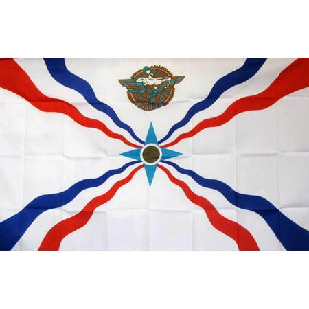 Assyrian Flag (Assyria 3x5 Flag White Red Blue Star Polyester 2 Brass Grommets)