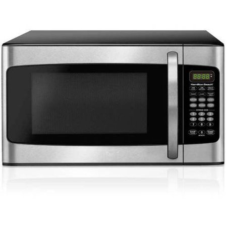 Hamilton Beach 1.1 cu ft Microwave, 1000W, LED display, 10 power levels, Stainless Steel Hamilton Beach 1.1 cu ft Microwave:10 power levels6 quick set menu buttonsChild-safe lockout featureKitchen timer/clockWeight and time defrostLED display1000WMicrowave oven with black housing and white painted cavity1-year limited warrantyHamilton Beach microwave oven comes in stainless-steel, red, white or black20.2 in W x 17.1 in L x 12.1 in H