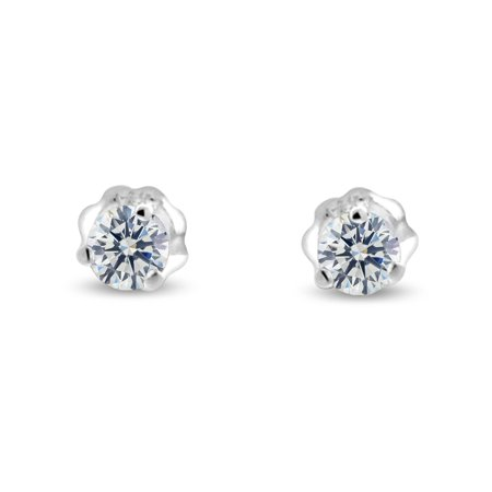 1/2 ct tw G I1 Natural Round Diamond Stud Earrings Three Prong Setting 14K White Gold Screw Back