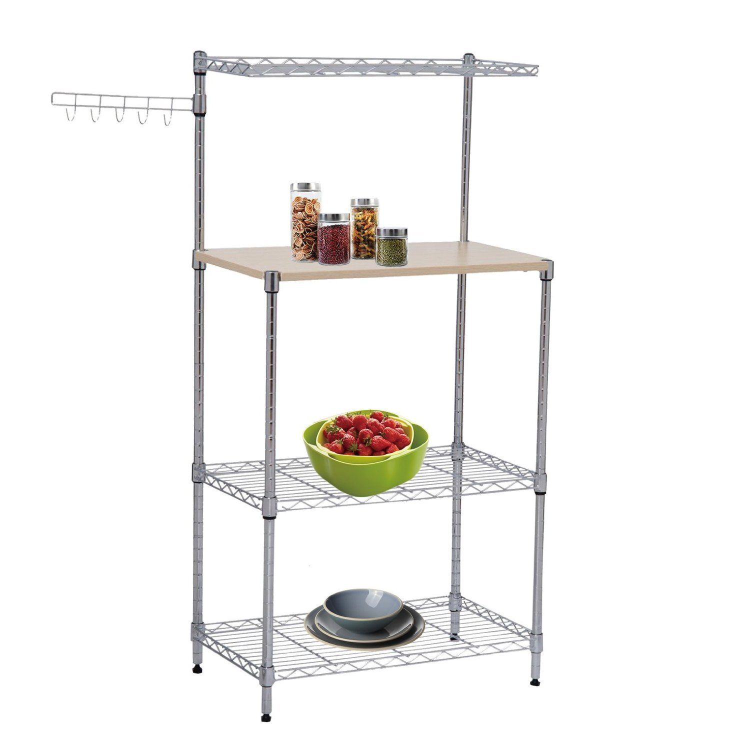 Tenive 3 Tier Kitchen Bakeru0027s Rack Microwave Oven Stand Storage Cart  Workstation Shelf