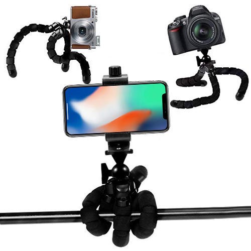 "an eCostConnection Microfiber Cloth Acuvar 10/"" inch Flexible Tripod with Quick Release Universal Rotating Mount for All Smartphones"