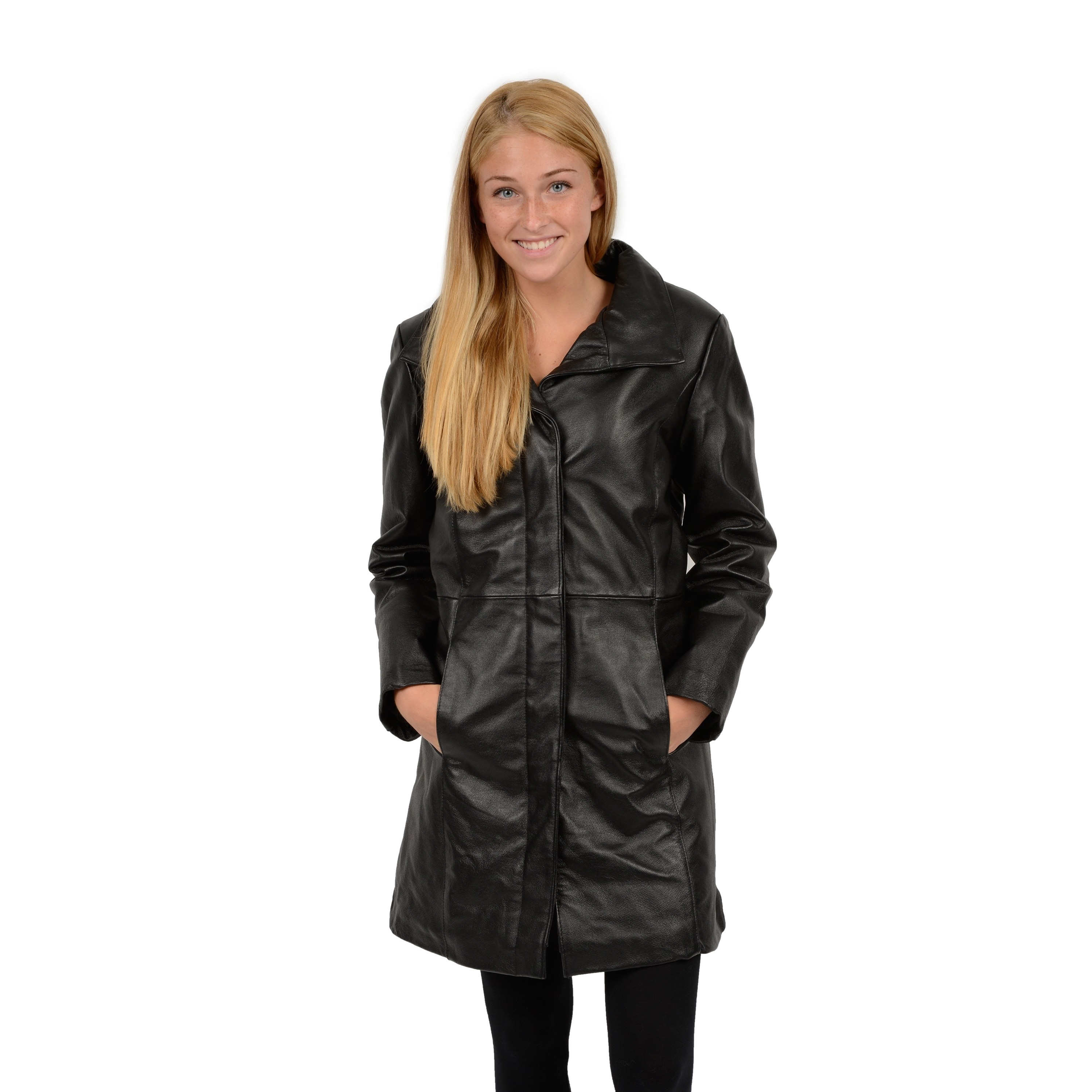 EXcelled  Women's Black Leather Pencil Coat with Converti...
