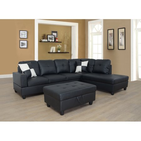 Moss Right Facing Sectional Sofa with Ottoman,Black
