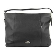 coach east west isabelle shoulder bag in pebble black leather f35809 by