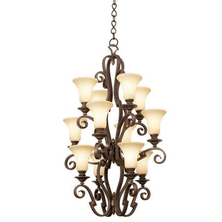 Pendants 12 Light Bulb Fixture With Modern Gold Tone Finish Travertine Glass E26 29