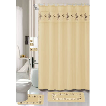 Beverly Beige 18 Piece Bathroom Set 2 Rugs Mats 1 Fabric Shower Curtain 12 Covered Rings 3 Pc Decorative Towel