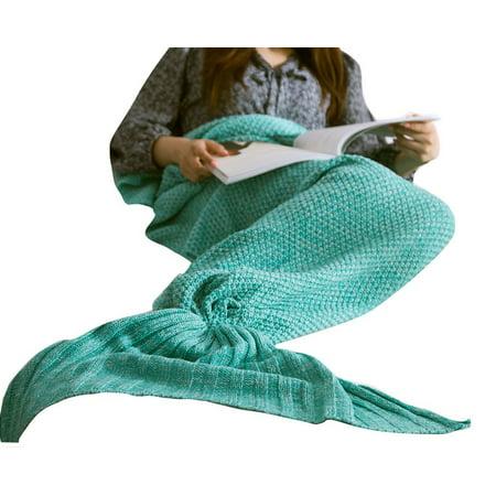All Season Light - Happy Cherry Adult Mermaid Tail Super Soft All Seasons Sleeping Blankets, Mint Green