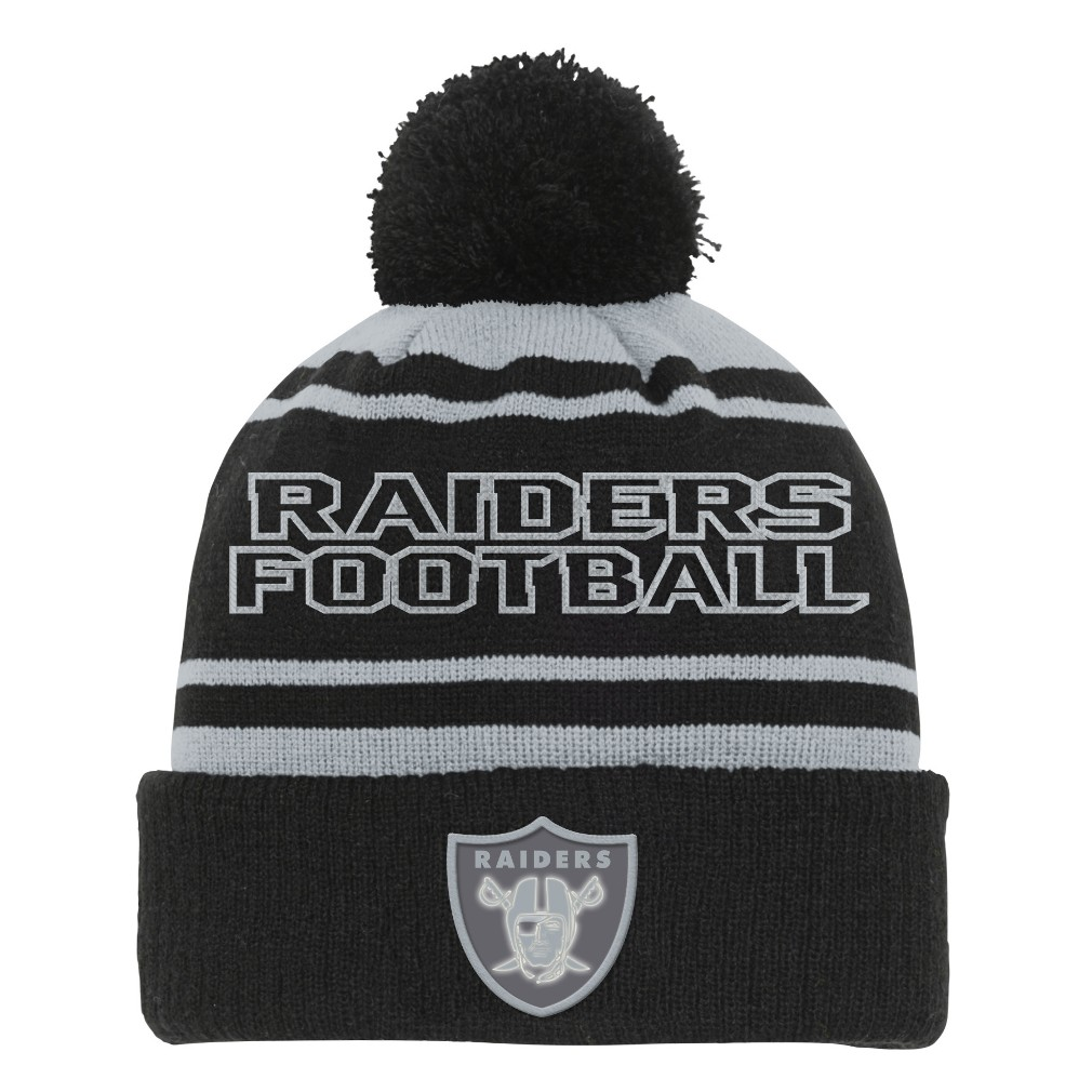 "Oakland Raiders Youth NFL ""Reflective"" Cuffed Knit Hat w/ Pom"