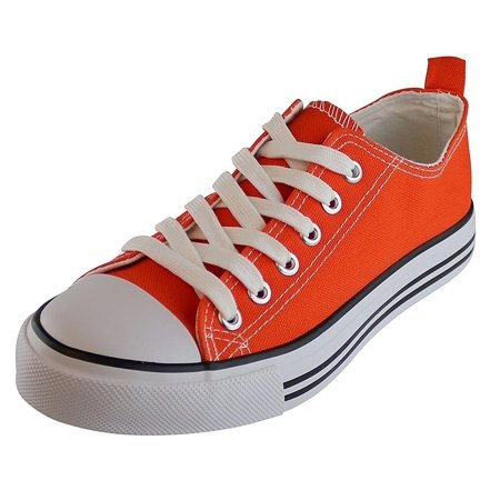 Jack Avenue Women's Sneakers Casual Canvas Shoes Solid Colors Low Top Lace up Flat Fashion (6, Orange)