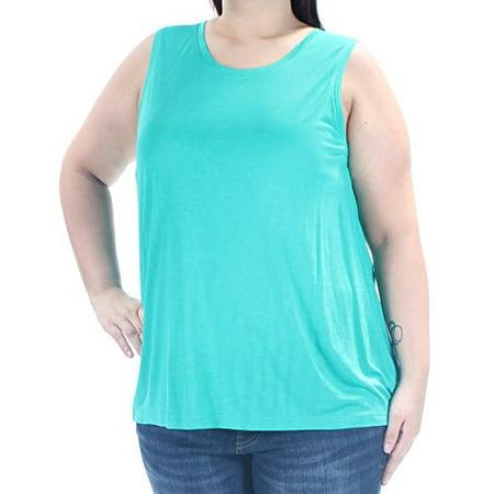 Lauren Ralph Lauren Womens Knit Sleeveless Casual Top Green XL