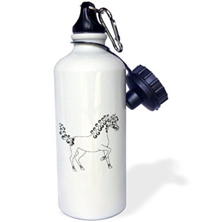 3dRose Horse Lover Gifts - Tattooed Horse Outline - White and Black, Sports Water Bottle, 21oz (Camping Tattoos)