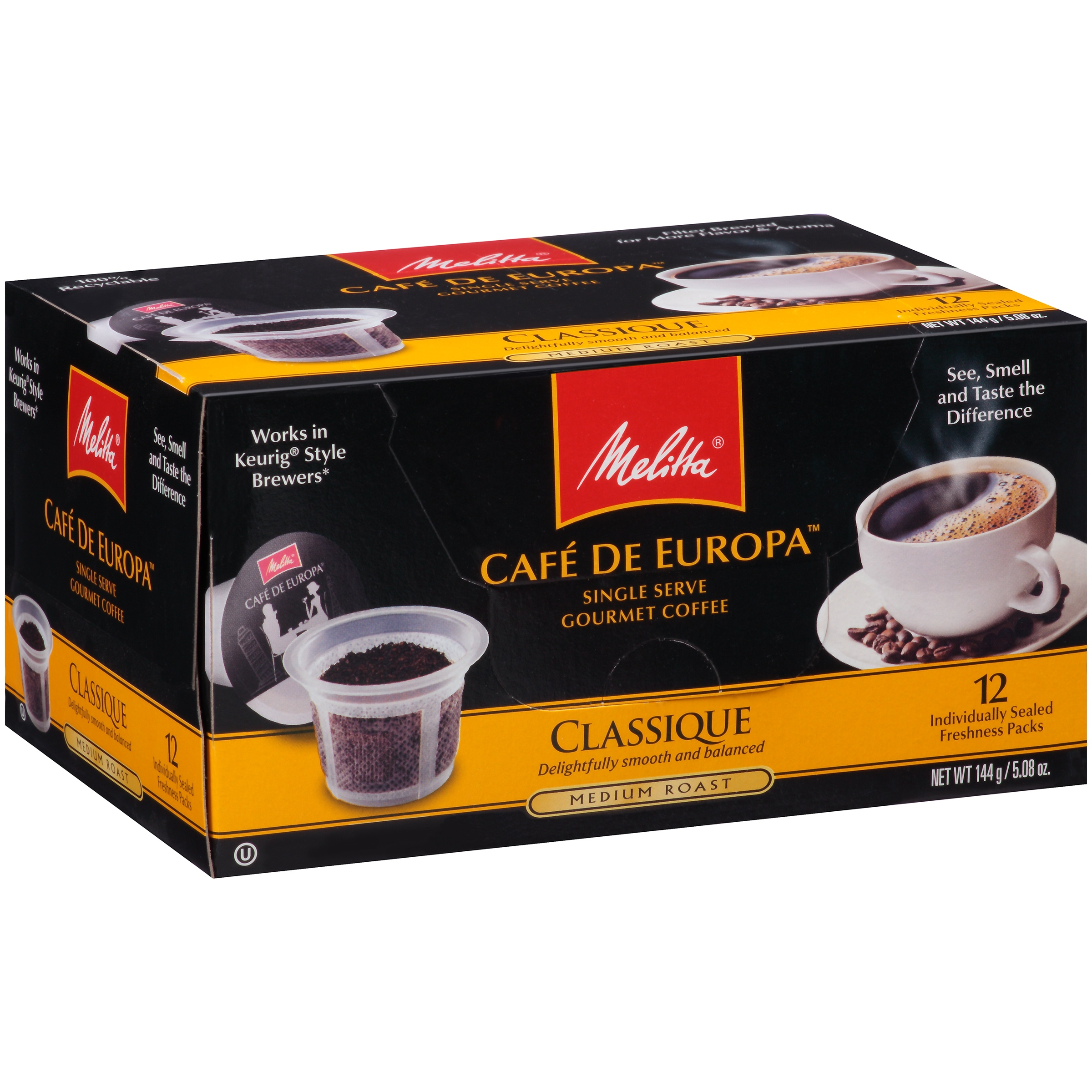 Melitta Cafe de Europa Classique Medium Roast Single Serve Gourmet Coffee 12 ct Box by Melitta USA Inc.