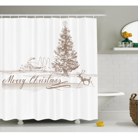 Christmas Shower Curtain Set, Romantic Vintage Merry Christmas Scene with Reindeer Tree Star Holy Religious Design, Bathroom Decor, Brown, by Ambesonne