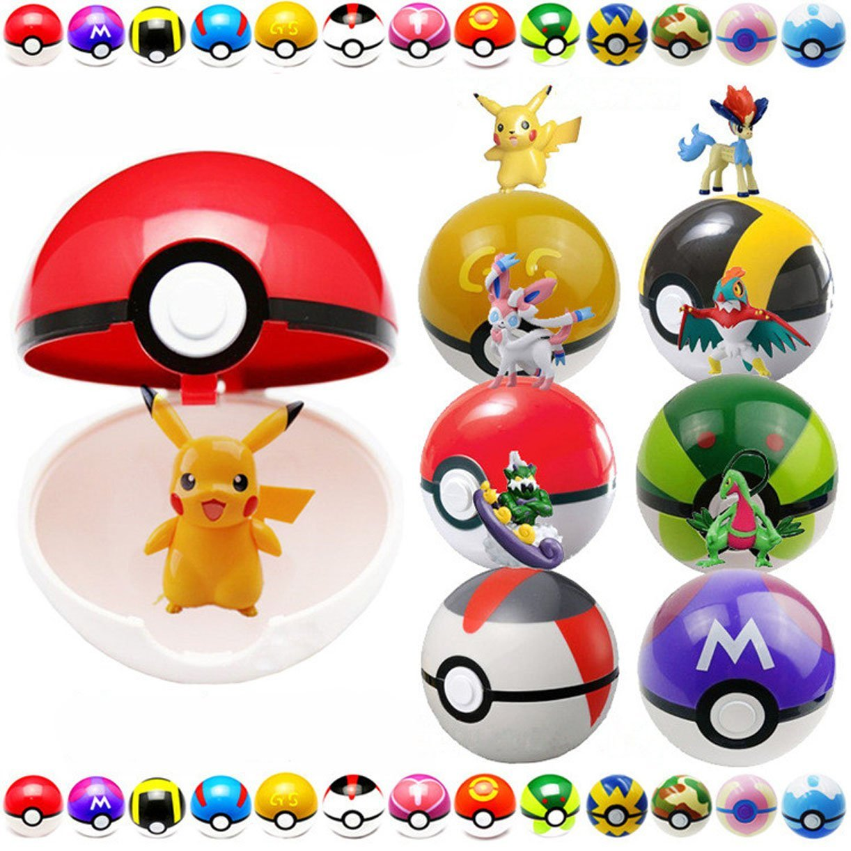 Pokemon Go Pokeball 9Pcs With 9 Pokemon Figure and 1 Drawstring Bag
