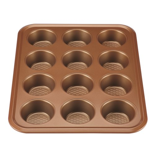 Ayesha Curry Nonstick Bakeware 12-Cup Muffin Pan, Copper