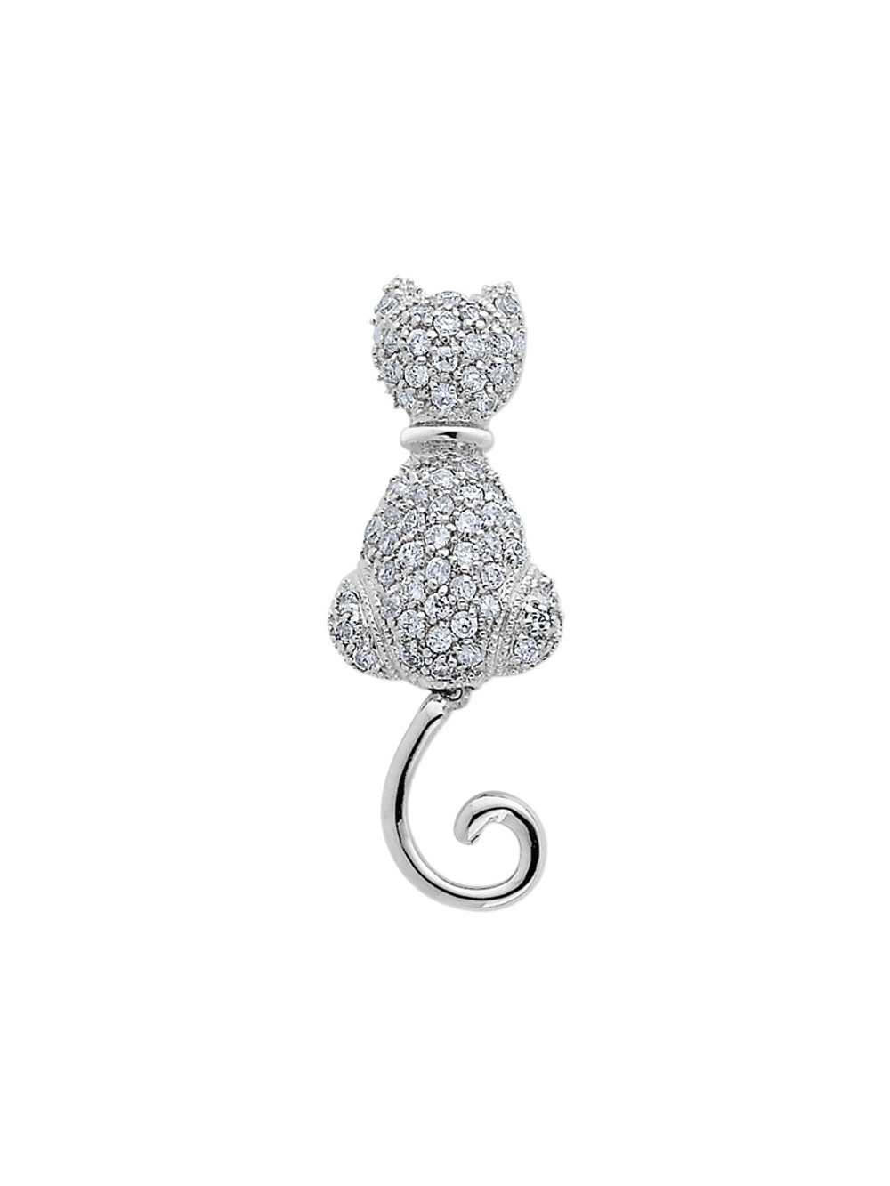 Synthetic Cubic Zirconia (CZ) (CZ) Cat Pin Brooch in Sterling Silver by Gem And Harmony
