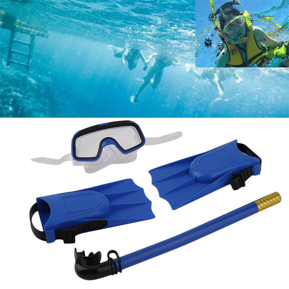 Snorkeling Diving Mask Breathing Tube Long Fins Foot Flippers 3Pcs Snorkels Set Swimming Pool Training Equipment 1Set,,blue