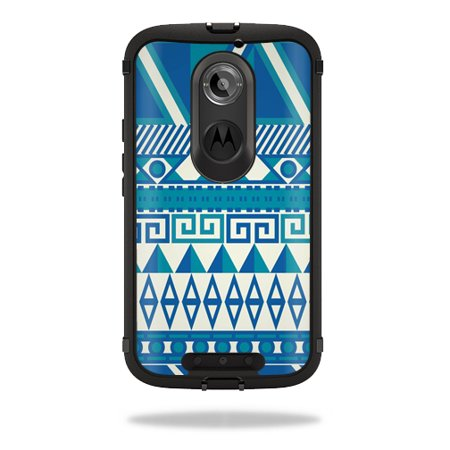 Mightyskins Protective Vinyl Skin Decal Cover for OtterBox Defender Moto X (2nd Gen 2014) Case cover wrap sticker skins Blue Aztec
