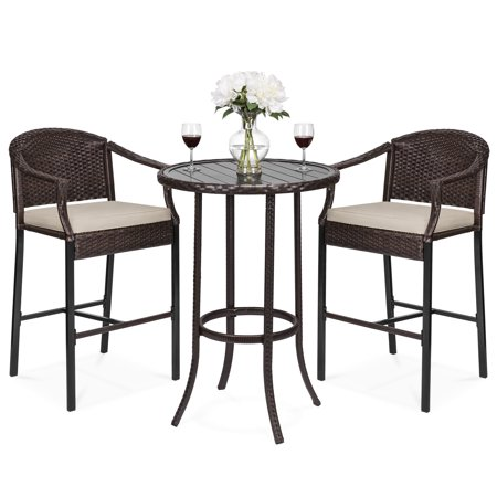 Best Choice Products 3-Piece Outdoor Wicker Table Bar Furniture Set for Patio, Garden, Poolside with Bar Stools, Footrests, Cushions, Steel Frame, Brown ()