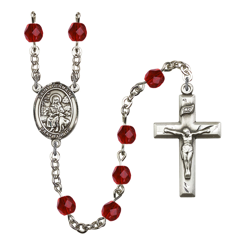 St. Germaine Cousin Silver-Plated Rosary 6mm July Red Fir...
