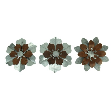 Rustic Galvanized Metal Tropical Flowers 3 Piece Wall Sculpture Set